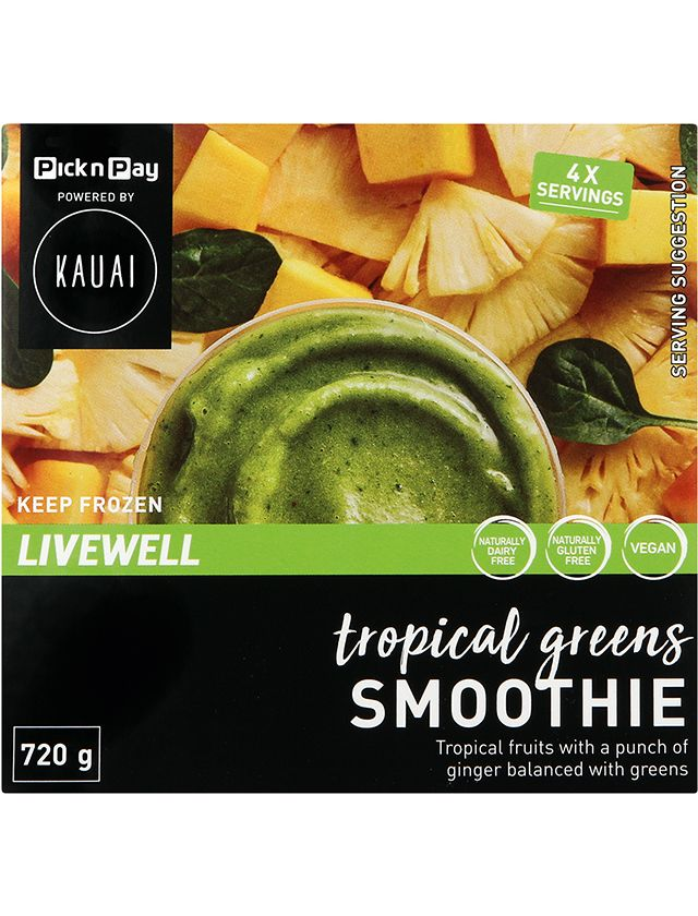 Pnp powered by Kauai Frozen Tropical Greens smoothie pack
