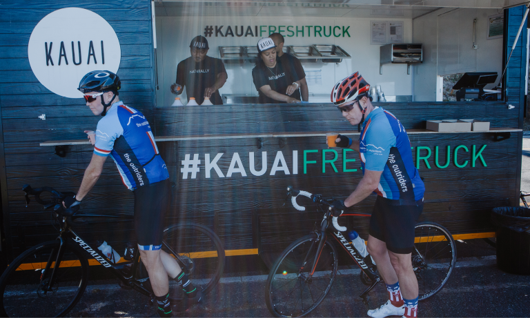 Cyclist & Kauai Fresh Truck