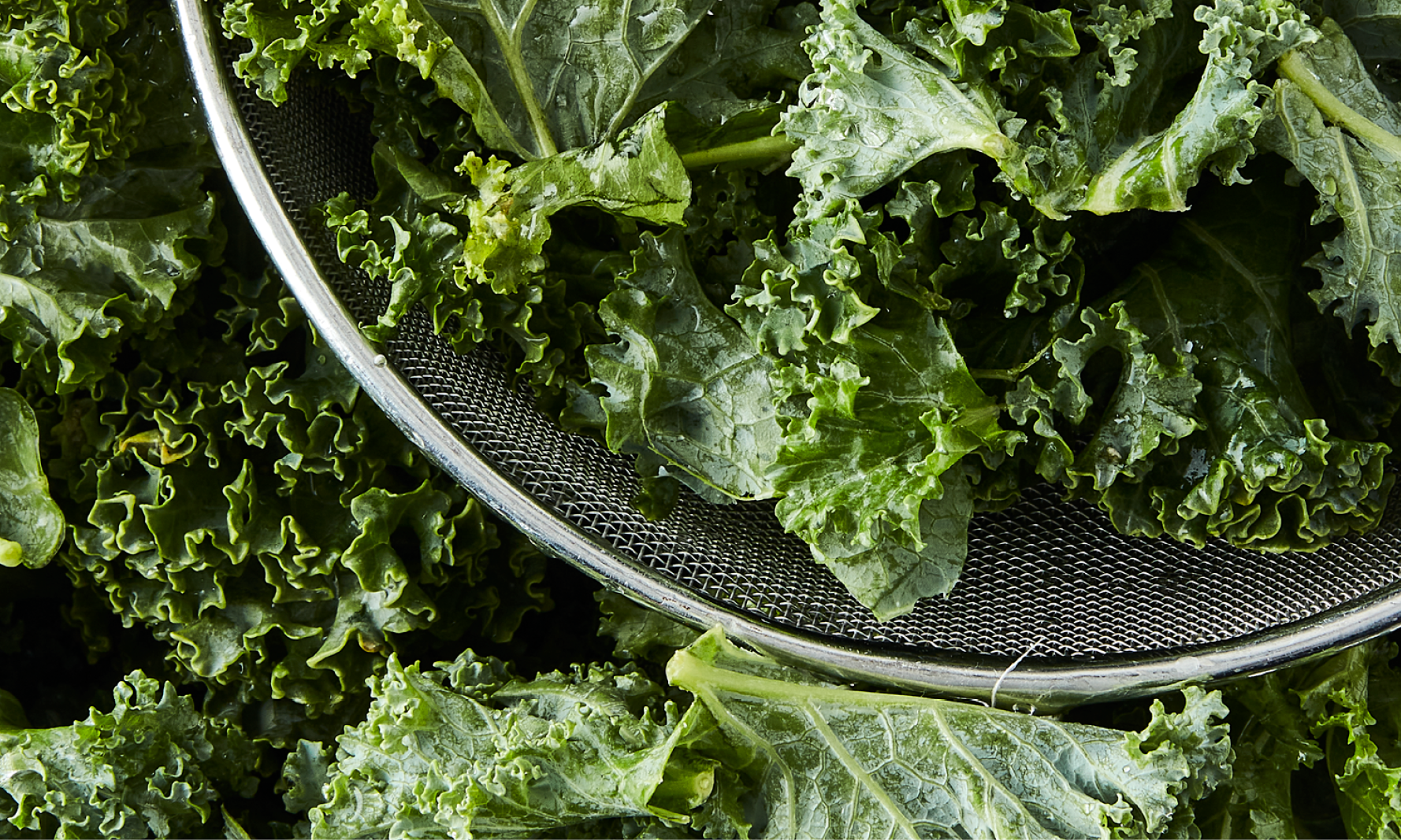 Kale in strainer - Vegetable intake