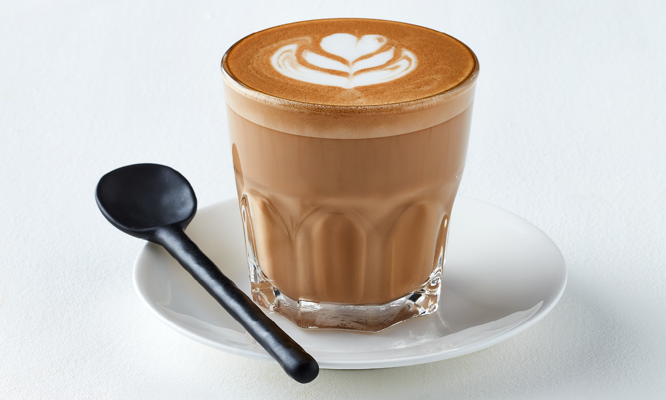 Cortado in glass cup with spoon | Winter Menu